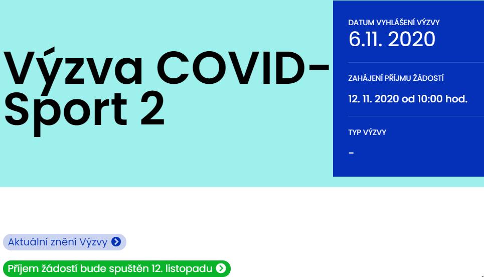 VYHLÁŠENÍ PROGRAMU COVID-SPORT II.